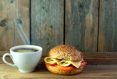 Breakfast coffee and sandwich background Royalty Free Stock Image