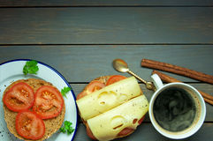 Breakfast coffee with sandwich and space for text Royalty Free Stock Image