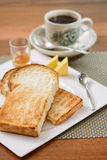 Breakfast with coffee, toast bread and half-boiled egg Royalty Free Stock Photography