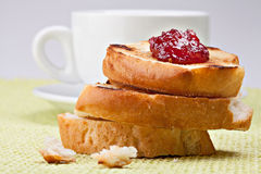 Breakfast with coffee. Toast and cherry jam Stock Photography