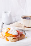 Breakfast with coffee and toast with egg Royalty Free Stock Images