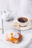 Breakfast with coffee and toast with egg Royalty Free Stock Photo