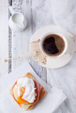 Breakfast with coffee and toast with egg Stock Images
