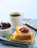 Breakfast with coffee, toast and  jam Royalty Free Stock Image
