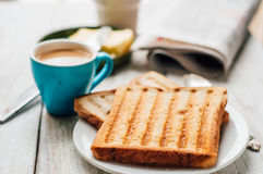 Breakfast with coffee, toasts, butter and jam Royalty Free Stock Photos