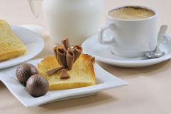 Breakfast with coffee, toasts, and chocolate Royalty Free Stock Photos