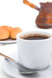 Breakfast from coffee in Turkish. On the white background Stock Image