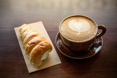 Breakfast coffee on wooden table Royalty Free Stock Photo
