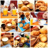 Breakfast collage on rustic wooden table. Delicious breakfast collage on rustic wooden table Stock Images