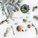 Breakfast composition with coffee with milk, blue cakes, succulent, fork, eucalyptus, plaid on with background stock photography