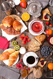 Breakfast. Composition with coffee,tea,croissant and fruits Royalty Free Stock Photography