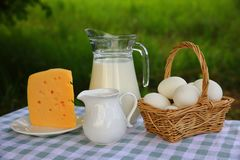 A milk jug, a basket of eggs, a creamer, and a piece of cheese stock photography