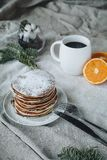 A breakfast composition of pancakes royalty free stock photos