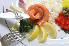 Breakfast composition with salmon. Lemon, spice in exclusive version on the plate Royalty Free Stock Photo