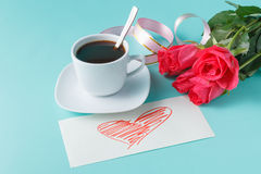 Breakfast composition on Valentine's Day Royalty Free Stock Photo