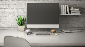 Breakfast with a computer 3d illustration Stock Images