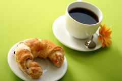 Breakfast concept with coffee and croissant Royalty Free Stock Photo