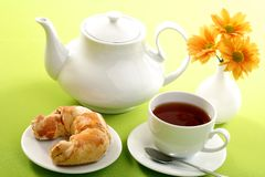 Breakfast concept with coffee and croissant Stock Photography