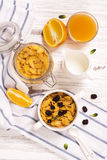 Breakfast concept with corn flakes, milk and orange juice Stock Photo