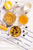 Breakfast concept with corn flakes, milk and orange juice Royalty Free Stock Image