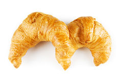 Breakfast concept - croissant and tea isolated Stock Images