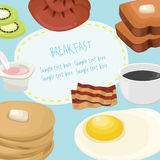 Breakfast concept with fresh food and drinks flat icons set vector illustration Stock Photo