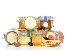 Breakfast concept Tasty jars of jam and honey cream with dried a Stock Photo