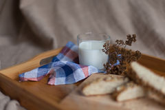Breakfast consisting of bread and milk Royalty Free Stock Photos