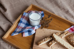 Breakfast consisting of bread and milk Stock Photos