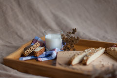 Breakfast consisting of bread and milk Royalty Free Stock Photo