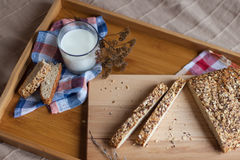 Breakfast consisting of bread and milk Royalty Free Stock Photography
