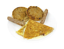 Breakfast omelet with sausage, English muffins Royalty Free Stock Photo