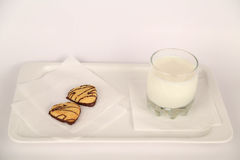 breakfast with milk and cookies  Royalty Free Stock Photography