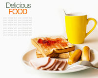 Breakfast consisting of toast  jam bread ham Royalty Free Stock Image