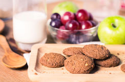 Breakfast with cookie mixed fresh fruits for healthy eating and Stock Photography