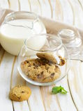 Breakfast cookies with chocolate and milk Royalty Free Stock Photo