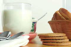 Breakfast with cookies and milk Royalty Free Stock Photography