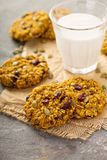 Breakfast cookies with pumpkin puree, cranberry and seeds Stock Photo