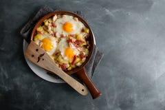 Breakfast in cooking pan Stock Photo