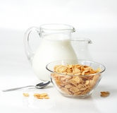 Breakfast with corn-flakes Stock Photography