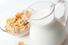 Breakfast with corn-flakes Royalty Free Stock Images