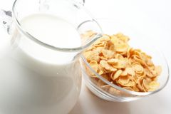 Breakfast with corn-flakes Royalty Free Stock Photography