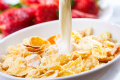 Breakfast with corn flakes Royalty Free Stock Photo
