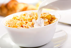 Breakfast with corn flakes Royalty Free Stock Images