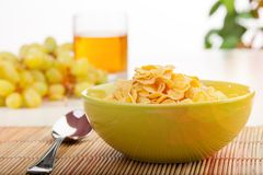 Breakfast with corn flakes close-up Stock Photos