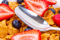 Breakfast with corn flakes and fruits stock photos