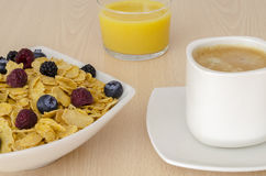 Breakfast with corn flakes Stock Images