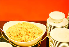Breakfast with corn flakes Stock Photo