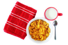 Breakfast: corn flakes and milk Stock Photography