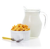 Breakfast with corn-flakes and milk Stock Photo